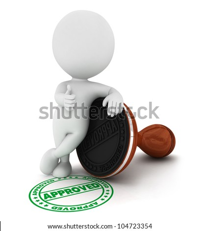 3d white people approved wood rubber stamp in a positive pose, isolated white background, 3d image - stock photo