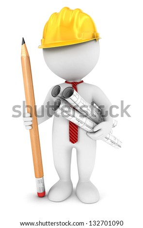 3d white people architect, isolated white background, 3d image - stock photo