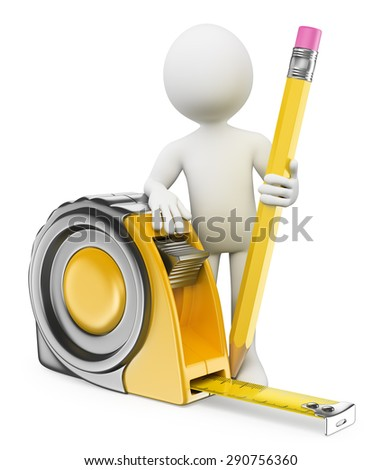 3d white people. Architect with measure tape and pencil. Isolated white background. - stock photo
