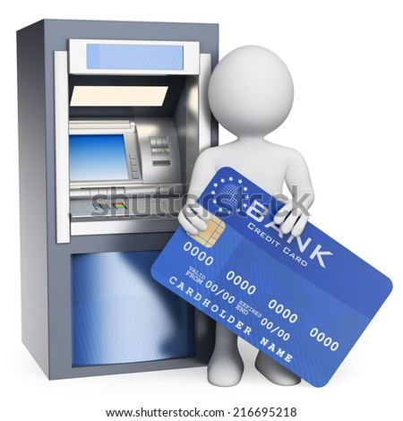 3d white people. ATM. Credit card. Isolated white background. - stock photo