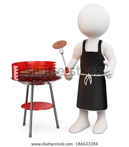 3d white people. Barbecue. Isolated white background.  - stock photo