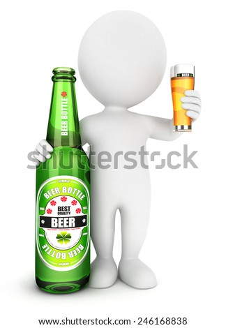 3d white people beer bottle, isolated white background, 3d image - stock photo