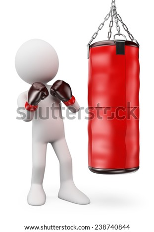 3d white people.  Boxer hitting a punching bag. Isolated white background. - stock photo