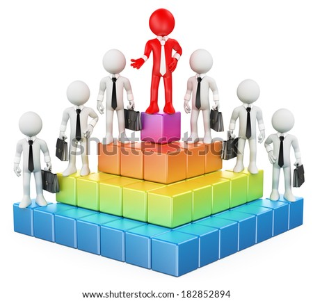 3d white people. Business hierarchy. Isolated white background.