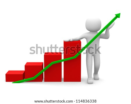 3d white people business statistic graph, isolated white background, 3d render illustration