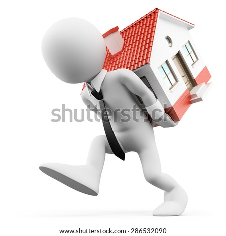 3d white people. Businessman carrying a house. Mortgage. Isolated white background.  - stock photo