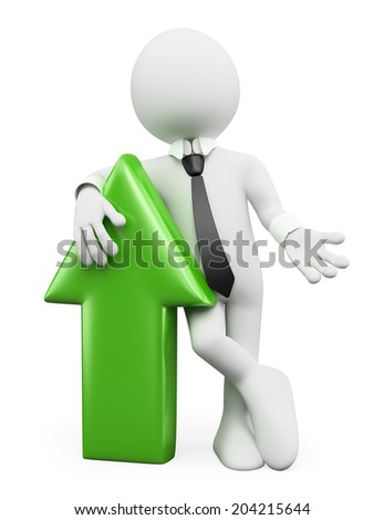 3d white people. Businessman leaning in a green arrow. Growth concept. Isolated white background. - stock photo