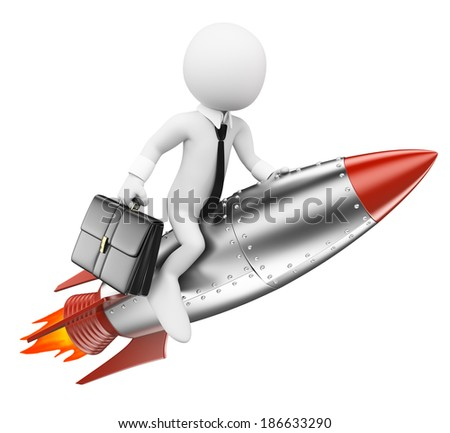 3d white people. Businessman on a rocket. Achieve the objectives concept. Isolated white background.