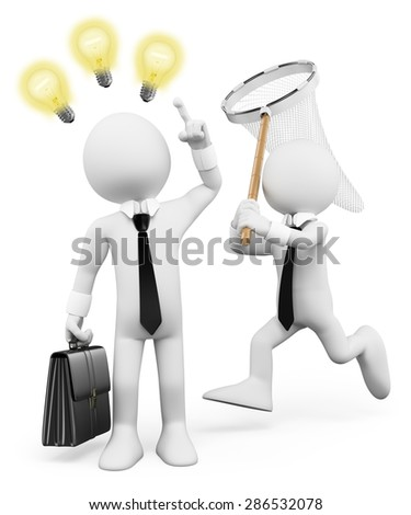 3d white people. Businessman stealing ideas of inspiration. Isolated white background.  - stock photo