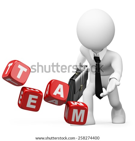 3d white people. Businessman throwing dice with the word team. Isolated white background. - stock photo