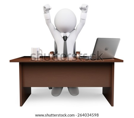 3d white people. Businessman with arms raised. Success. Isolated white background.  - stock photo