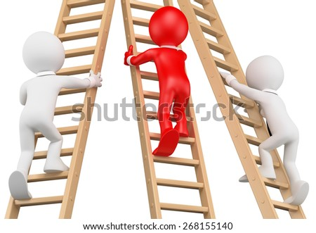 3d white people. Businessmen climbing a wooden ladder. Leadership. Isolated white background. - stock photo