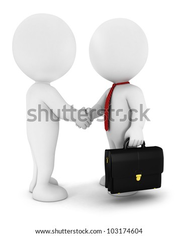 3d white people businessmen strike an agreement,wearing a red tie, and have a briefcase, isolated white background, 3d image - stock photo