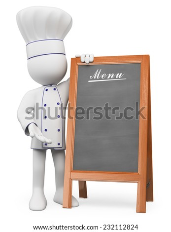 3d white people. Chef with a blank of menu. Isolated white background. - stock photo