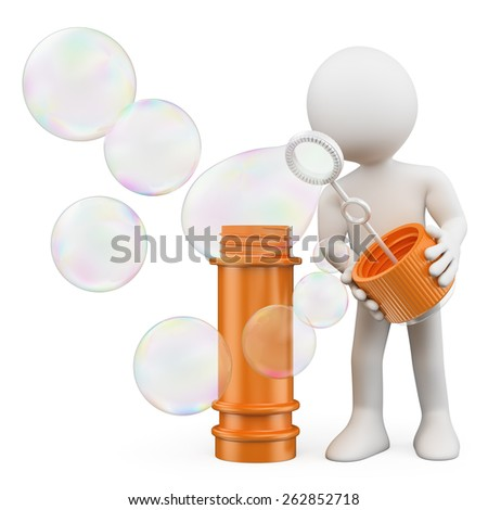 3d white people. Child blowing soap bubbles. Isolated white background. - stock photo