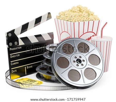 3d white people. Cinema clapper film reel drink popcorn and tickets. Isolated white background.