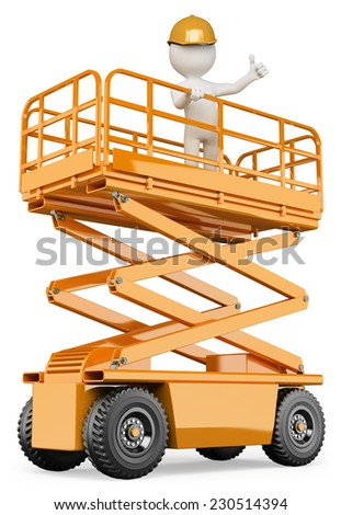 3d white people.  Engineer on a lifting platform with a thumb up. Isolated white background.  - stock photo