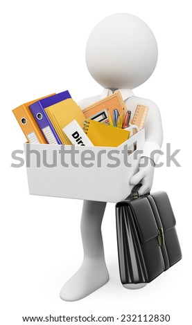 3d white people. Fired concept. Businessman leaving office with his stuff. Isolated white background. - stock photo
