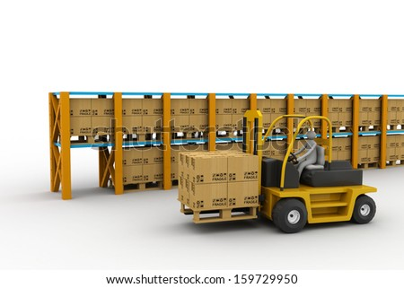 3D white people. Forklift in a warehouse - stock photo