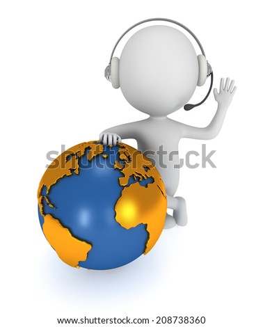 3d white people global manager stand with earth planet globe. Isolated on white. - stock photo