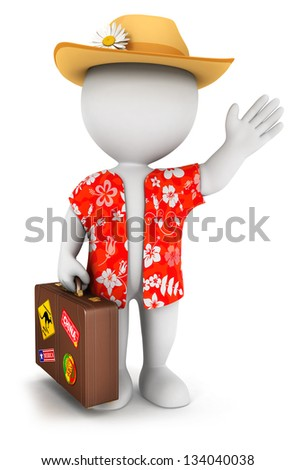 3d white people goes on vacation, isolated white background, 3d image - stock photo