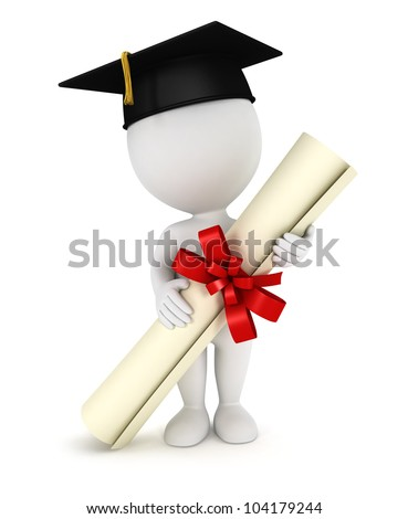 3d white people graduate, with a diploma certificate and a black mortarboard, isolated white background, 3d image - stock photo