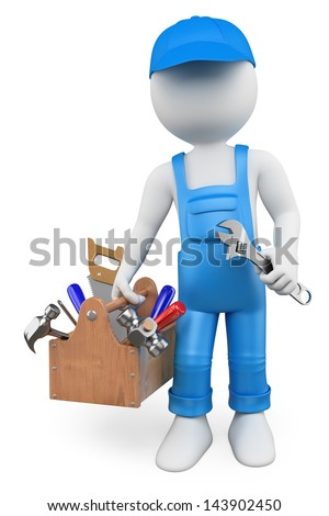 3D white people. Handyman with a toolbox and a wrench. Isolated white background. - stock photo