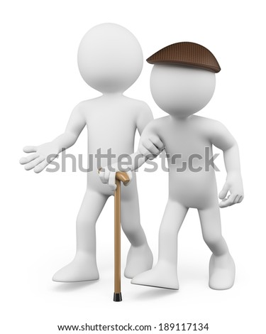 3d white people. Helping the elderly. Respect concept. Isolated white background.