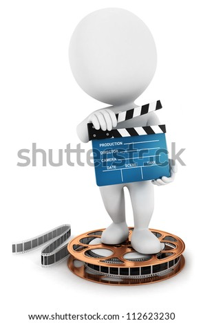 3d white people holding a movie clapper on a film reel, isolated white background, 3d image - stock photo