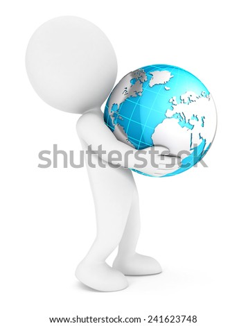 3d white people holding earth, isolated white background, 3d image - stock photo