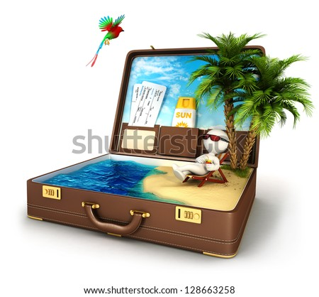 3d white people in a suitcase paradise, isolated white background, 3d image - stock photo