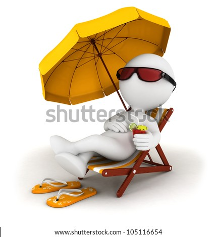 3d white people in vacation lying on a beach chair with cocktail and umbrella, isolated white background, 3d image - stock photo