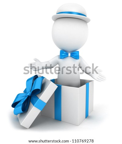 3d white people inside a blue gift, wearing a bow tie and a hat, isolated white background, 3d image - stock photo