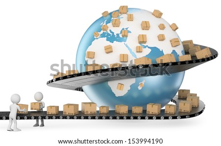 3d white people. International Delivery Service metaphor. Global Transport. Isolated white background.  - stock photo