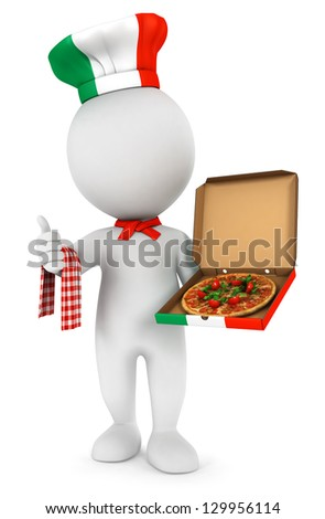 3d white people italian pizza cook, isolated white background, 3d image - stock photo