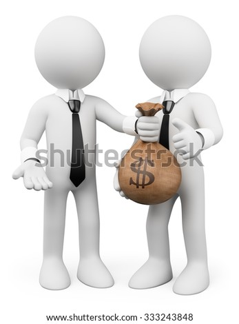 3d white people. Loan concept. Man giving a bag with money to another. Business metaphor. Isolated white background.  - stock photo
