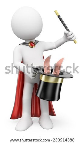 3d white people. Magician pulling a rabbit out of the hat. Isolated white background.  - stock photo