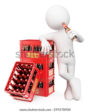 3d white people. Man drinking bottle of beer leaning on a stack boxes. Isolated white background. - stock photo
