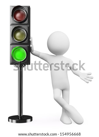 3d white people. Man leaning on a green traffic light. Isolated white background.  - stock photo