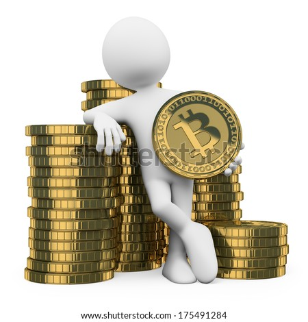3d white people. Man leaning on a pile of bitcoins. Isolated white background.  - stock photo