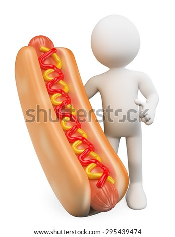 3d white people. Man with a hot dog with ketchup and mustard. Isolated white background.  - stock photo