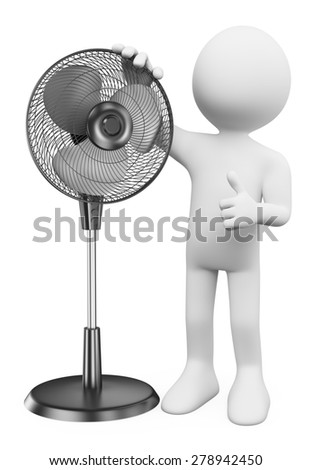 3d white people. Man with a standing fan. Isolated white background.