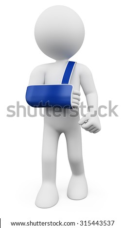 3d white people. Man with arm in sling. Isolated white background.