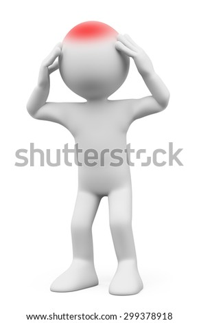 3d white people. Man with headache. Isolated white background. - stock photo