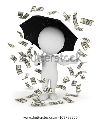 3d white people money rain with an umbrella, isolated white background, 3d image - stock photo