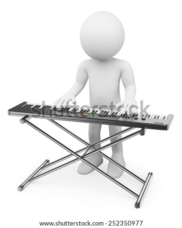 3d white people. Musician playing keyboard. Piano. Isolated white background.
