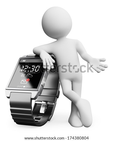3d white people. New technologies. Smart watch. Isolated white background.  - stock photo
