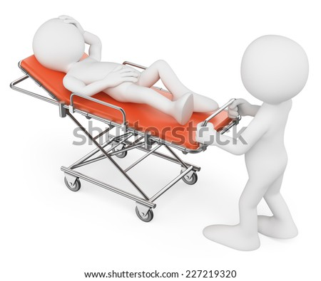 3d white people. Nurse carrying a patient on a orange stretcher. Isolated white background.