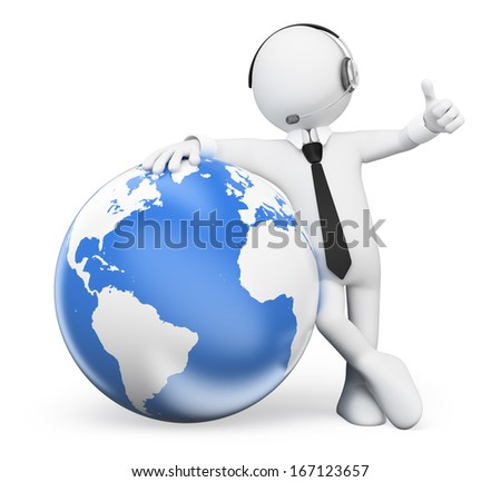 3d white people. Operator leaning in the world with thumb up. Isolated white background.