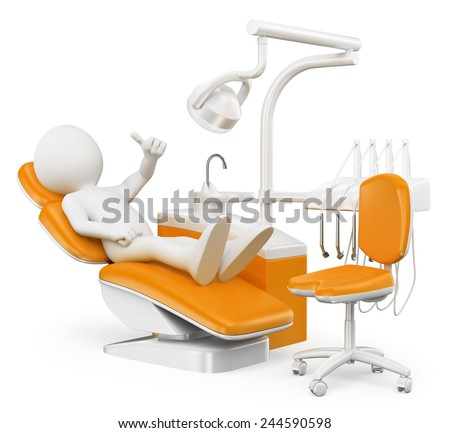 3d white people. Patient at the dentist. Isolated white background. - stock photo